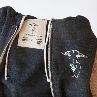 custom size tag on alternative apparel eco fleece zip hoodie